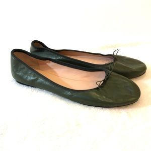 J. Crew Leather Hunter Green Ballet Flats Shoes